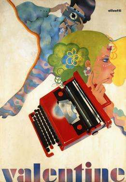 An Olivetti 'Valentine' Typewriter Promotional Poster, C.1969 (Colour Print, Wooden Frame)