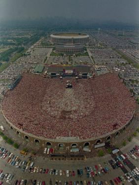 An Overhead Aerial View of the Crowd at Jfk Stadium