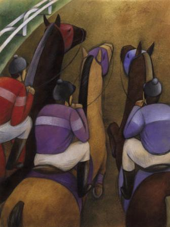 An Overhead Look at Three Horses Being Ridden by Jockeys in a Race