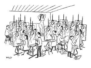 Art class painting nude woman. Each student paints exact same abstract int… - New Yorker Cartoon by Anatol Kovarsky