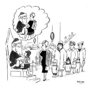 Santa Claus in department store holding little kid on his lap has mental i… - New Yorker Cartoon by Anatol Kovarsky