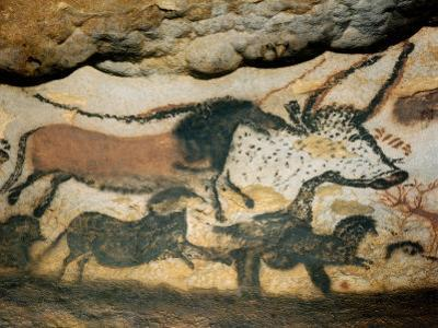 Ancient Artwork on the Walls of the Cave at Lascaux