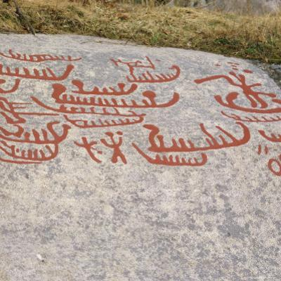 Ancient Rock Carvings from Pre-Viking Times, Ostfold Near Halden, Norway, Scandinavia, Europe by G Richardson