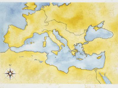Ancient Rome, Map of Mediterranean Basin, Illustration