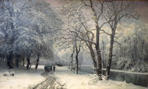 A Winter Landscape with Horses and Carts by a River, 1882 by Anders Andersen-Lundby