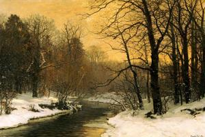 A Winter River Landscape by Anders Andersen-Lundby