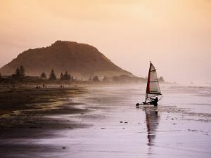 Blocart (Land Yacht) Cruising on Beach, Mt. Maunganui, New Zealand by Anders Blomqvist