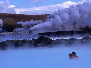 Couple in Blue Lagoon Hot Spring Bathing Pool, Reykjavik, Iceland by Anders Blomqvist