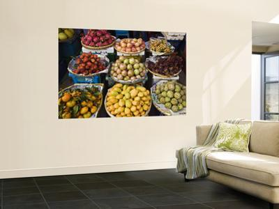 Display of Tropical Fresh Fruit in Market, Including Rambutans, Mangoes, Longans and Dragon Fruit by Anders Blomqvist