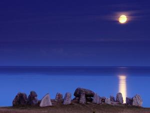 Full Moon and 5000-Year-Old Stone Age Grave, Havangsdosen, Havang, Sweden by Anders Blomqvist