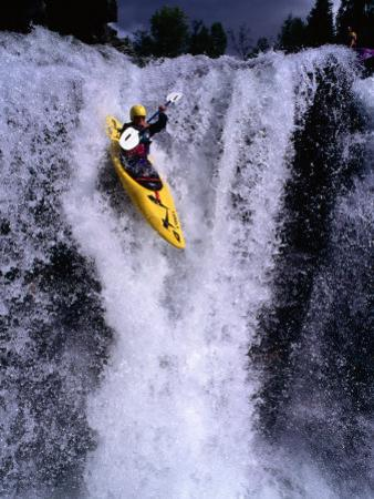 Kayak Flying over Fall One on Store Ula River, Oppland, Norway by Anders Blomqvist
