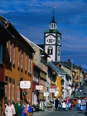 Pedestrians on Main Street of Old Town, Roros, Sor-Trondelag, Norway by Anders Blomqvist