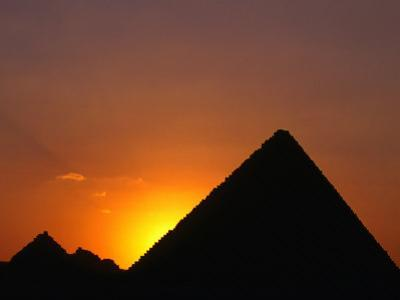 Pyramid of Mycerinus at Giza at Sunset, Cairo, Egypt by Anders Blomqvist