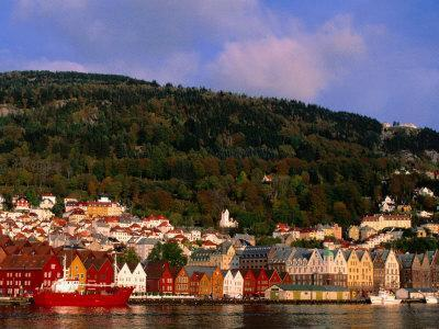 The Bryggen, a Huddle of Wooden Buildings on the Waterfront, Bergen,Hordaland, Norway