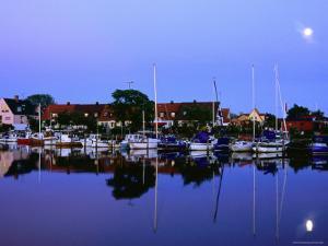 Town Harbour at Night, Raa, Skane, Sweden by Anders Blomqvist