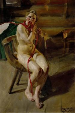 Nude pleating her hair. 1907 by Anders Zorn