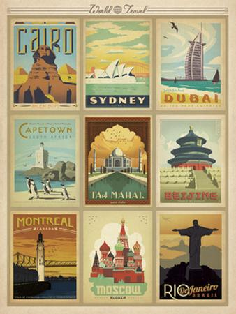 World Travel Multi Print II by Anderson Design Group