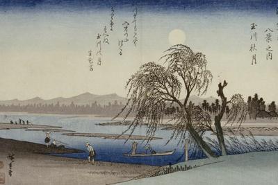 Autumn Moon Over Tama River