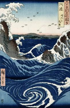 Awa Province: Stormy Sea at the Naruto Rapids from 'Famous Places of the Sixty Provinces', 1853 by Ando Hiroshige
