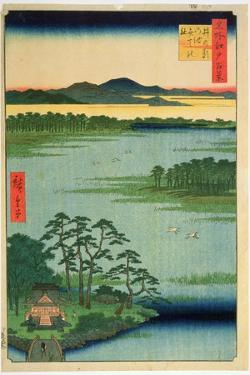 Benten Shrine, Inokashia Pond, from the Series 'One Hundred Famous Views of Edo', 1856 by Ando Hiroshige
