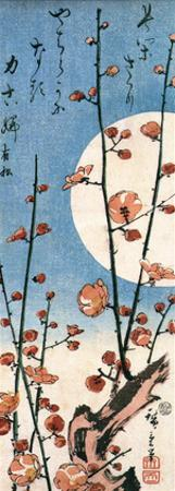 Blossoming Plum Tree with Full Moon by Ando Hiroshige