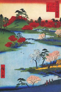Cherry Blossoms at the Hachiman Shrine in Fukagawa by Ando Hiroshige
