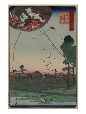 Distant View of Akiba of Enshu: Kites of Fukuroi (Enshu? Akiba Enkei Fukuroi No Tako) by Ando Hiroshige