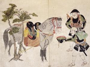 Drawing of Knights' Camp, Ukiyo-E by Ando Hiroshige