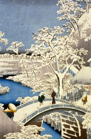 "Drum Bridge and Setting Sun Hill at Meguro, from the Series ""100 Views of Edo"" by Ando Hiroshige"