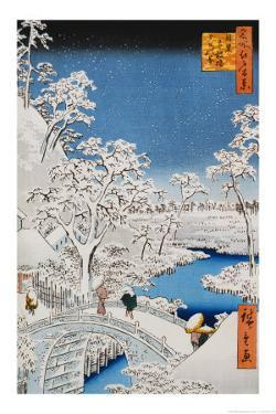 """Drum Bridge at Meguro, from the Series """"100 Views of Edo"""" by Ando Hiroshige"""