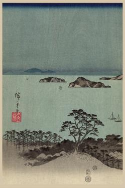 Evening View of Eight Famous Sites at Kanazawa in Musashi Province (Uyokanazawa Hassshoyakei) No.1 by Ando Hiroshige