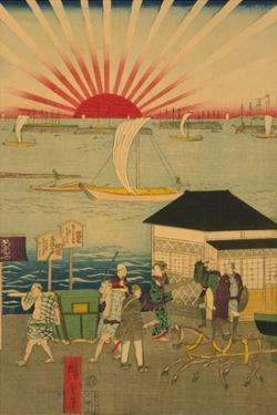 Famous Places in Tokyo: Real View of Takanawa No.2 Featuring the Rising Sun by Ando Hiroshige
