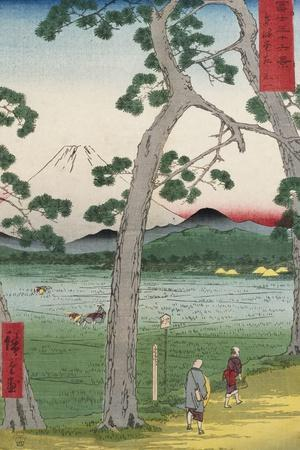 Fuji on the Left of the Tokaido Road, from 'Thirty Six Views of Mount Fuji'