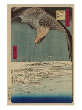 Hawk Flying Above a Snowy Landscape Along the Coastline. by Ando Hiroshige