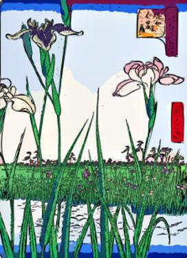 Irises a Pond by Ando Hiroshige