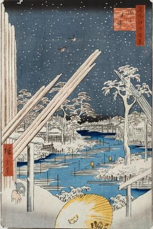 Lumberyards at Fukagawa, from the Series 'One Hundred Views of Famous Places in Edo'