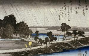 Night Rain at Azuma Shrine by Ando Hiroshige
