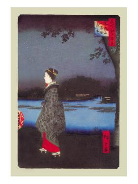 Night Scene of Matsuchi Hill and the Sanya Moat by Ando Hiroshige