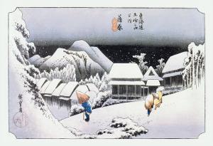 Night Snow at Kambara by Ando Hiroshige