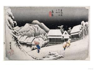 Night Snow, Kambara', from the Series 'The Fifty-Three Stations of the Tokaido' by Ando Hiroshige