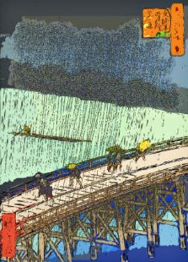 O-Hashi (Big Bridge) at Atake in Summer Shower by Ando Hiroshige