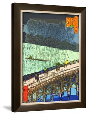 O-Hashi (Big Bridge) at Atake in Summer Shower by Ando Hiroshige