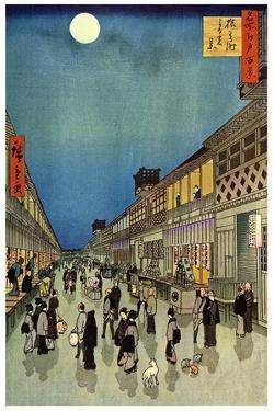 Saruwaka Cho, Yoru Shibai, 1856 by Ando Hiroshige