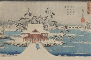 Snow Scene of Benzaiten Shrine in Inokashira Pond (Inokashira No Ike Benzaiten No Yashiro) by Ando Hiroshige