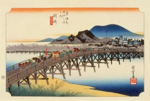 The 53 Stations of the Tokaido, Station 38: Okazaki-shuku, Aichi Prefecture by Ando Hiroshige