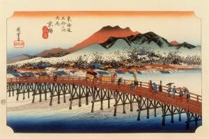 The 53 Stations of the Tokaido, The End: Sanjo O-Hashi, Kyoto by Ando Hiroshige