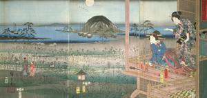 The Lady Fujitsubo Watching Prince Genji Departing in the Moonlight, 1853 by Ando Hiroshige