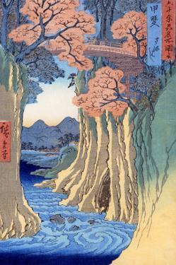 The Monkey Bridge in the Kai Province, from the Series Rokuju-Yoshu Meisho Zue by Ando Hiroshige