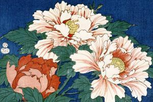 Three Stems of Peonies on a Blue Background, 1857 by Ando Hiroshige