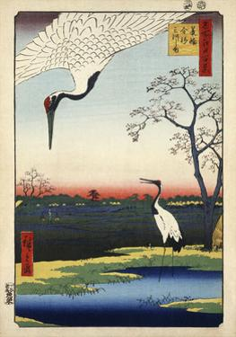 Two Cranes from Meisho Yedo Hiakkei (One Hundred Famous Views of Edo) by Ando Hiroshige